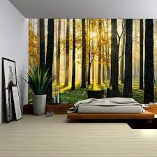 Wall26a A Peaking View Through The Forest Of The Morning Sunrise Wall Mural Removable Sticker Home Decor 100x144 Inches Wall Stickers Murals Olivia Decor Decor For Your Home And Office