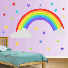 Amazon Com Colorful Rainbow Wall Decal Cloud Wall Sticker Colored Stars Wall Sticker For Kids Room Decor Gift Diy Mural Art Home Decoration Kitchen Dining