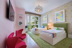 Contemporary Kids Room With White Drawers Purple Rug Pink Bedroom Girls Toys