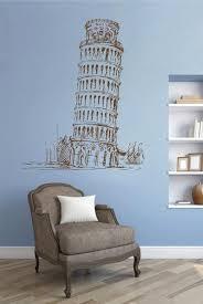Ik2420 Wall Decal Sticker Pisa Leaning Tower Italy Living Room Bedroom Stickersforlife