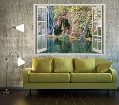 3d Window Overlooking The Cascade In The Forest 3d Wall Art Wall Decal Vinyl Vinyl Peel And Stick Removable H Vinyl Wall Decals 3d Wall Art Wall Stickers 3d