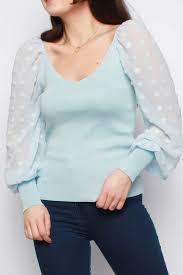 uk spots organza sleeve knitted jumper