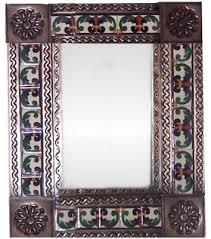 brown greca ii mexican tile mirror