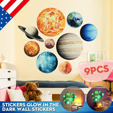 Solar System Wall Stickers Glow In The Dark Planets Mars Outer Space Decal Kids Room Decor Educational Background Walmart Com Walmart Com