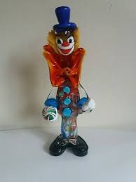 large murano italy glass clown blue