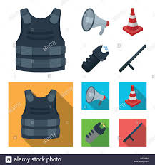 Bulletproof Vest Megaphone Cone Of Fencing Electric Shock Police Set Collection Icons In Cartoon Flat Style Vector Symbol Stock Illustration Stock Vector Image Art Alamy