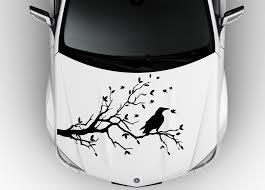 Hood Vinyl Sticker Decals Abstract Design Raven Bird On The Tree Branch C0203 Car Decals Stickers Car Decals Vinyl Stylish Stickers