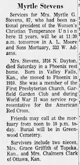 Obituary for Myrtle G Stevens (Aged 87) - Newspapers.com