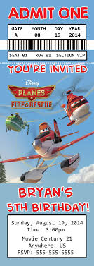 Disney Planes Fire And Rescue Movie Birthday Ticket Invitations