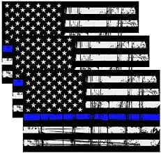 Amazon Com Creatrill Reflective Tattered Thin Blue Line Decal Matte Black 3 Packs 3x5 In American Usa Flag Decal Stickers For Cars Trucks Hard Hat Support Police And Law Enforcement Officers Kitchen