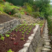 nice stone raised bed for terraced hill