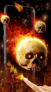 3d flaming skull live wallpaper for