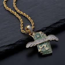 hip hop flying money pendant necklace