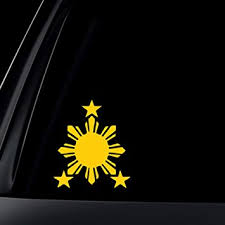 Amazon Com World Design Philippine Flag Sun Car Decal Sticker 6 Yellow Automotive