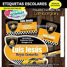Etiquetas Escolares Lamborguini Auto Coche Ferrari H127 19 90