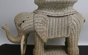 lot art white wicker elephant bookcase