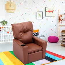 Shop Costway Kids Sofa Manual Recliner Leather Ergonomic Lounge W Cup Holder Children Gift Overstock 18539190