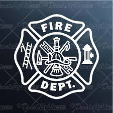 Shop Now For Fire Department Maltese Cross Car Decals
