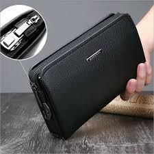 men s clutch bag pu leather coded lock