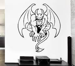 Wall Decal Gargoyle Monster Wings Horns Tail Evil Monster Vinyl Sticke Wallstickers4you