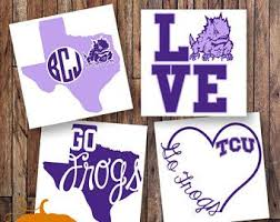Tcu Monogram Decal Horned Frog Decal Monogram Sticker Monogram Car Decal Vinyl Decal Vinyl Monogram Yeti Decal C Unique Items Products Crafts Novelty Sign