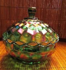 carnival glass candy dish w lid
