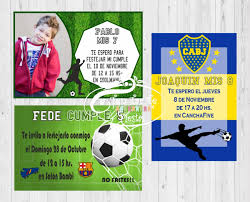 Invitaciones Infantiles Tarjetas Futbol X 10 Unid 180 00