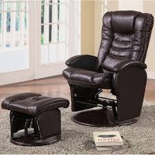 coaster faux leather glider recliner in