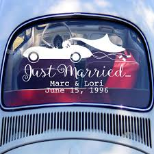 Just Married Car Wedding Decal Personalized Custom Name Date Vinyl Creative Car Window Decals Waterproof Removable Sticker Lc773 Wall Stickers Aliexpress