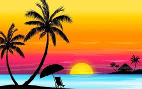 تحميل خلفيات غروب الشمس أشجار النخيل الشاطئ التجريد المناظر