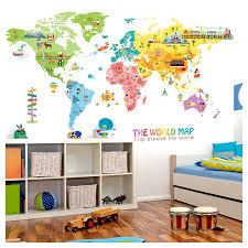 Cartoon Animal Map Home Decoration Vinyl Wall Stickers Diy 95 195cm World Map Kids Room Poster Befiriothin