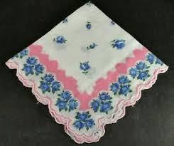 vtg blue fl pink border 100 cotton