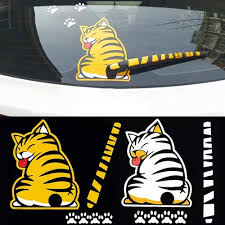 Vova Funny Cat Moving Tail 3d Car Sticker Reflective Rear Windshield Wiper Decals Auto Decoration