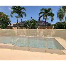 Xtremepowerus 4 X 12 Ft Pool Fence See Thru 5 Section Pool Fence Long Removable Child Safety Fence Barrier Pool Mesh Fence Beige Walmart Com Walmart Com