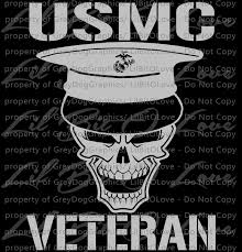 Marine Veteran Skull Vinyl Decal Sticker Usmc By Lilbitolove On Zibbet