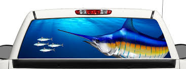 Buy Truck Suv Blue Marlin Fishing Rear Window Graphic Decal Perforated Vinyl Wrap 18x58 In Cheap Price On Alibaba Com