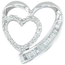 30ctw double diamond heart pendant
