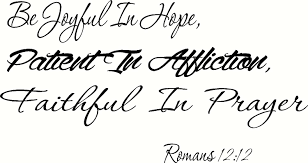 Amazon Com Creation Vinyls Romans 12 12 Cv Option 2 Wall Art Be Joyful In Hope Patient In Affliction Faithful In Prayer Bible Verse Christian Script Decal Sticker Art Mural Home Decor Quote Home