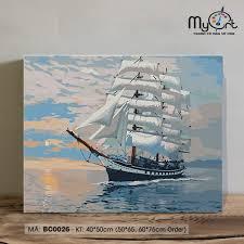Tranh tô màu tự vẽ sơn dầu số hóa BC0026 Tranh phong cảnh biển cả thuyền  buồm THUẬN BUỒM XUÔI GIÓ