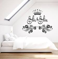 Vinyl Wall Decal Mr And Mrs Love Family Crown Bedroom Art Stickers Mur Wallstickers4you