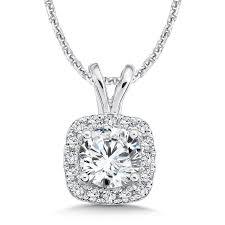 caro74 diamond cushion halo pendant