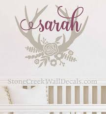 Floral Antler Name Decal Wall Decal Floral Antler Decal Girls Etsy