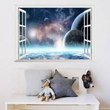 3d Wall Stickers Home Decor Universe Planet For Kids Room Bedroom Decoration Diy False Window Poster Mural Wallpaper Wall Decals Home Sticker Home Wall Art Stickers From Topboom 1 93 Dhgate Com