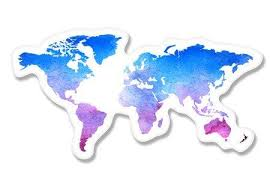 World Map Watercolor Vinyl Sticker Car Phone Helmet Select Size Funstyling Com