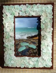 sea glass frame glowing white and