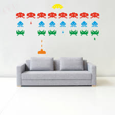 Gamer Vinyl Stickers Space Invaders Video Game Play Room Wall Decal Sticker 3d Arcade Toyssticker Mobile Aliexpress