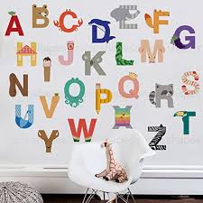 Amazon Com Simple Shapes Alphabet Wall Sticker Large Peel And Stick Home Kitchen