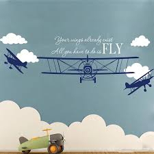 Cartoon Airplane Clouds Fly Quote Wall Sticker Nursery Kids Room Biplane Plane Cloud Flying Inspirational Quote Wall Decal Decor Wall Stickers Aliexpress