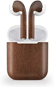 Amazon Com Decal Kid Skin For Apple Airpod Air Pod Brown Leather Protective Durable Unique Vinyl Decal Wrap Cover Easy To Apply Remove And Change Styles And Change Styles