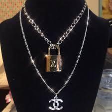 genuine louis vuitton lock necklace